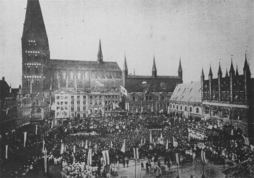 Siegesfeier 1871 Lübecker Marktplatz