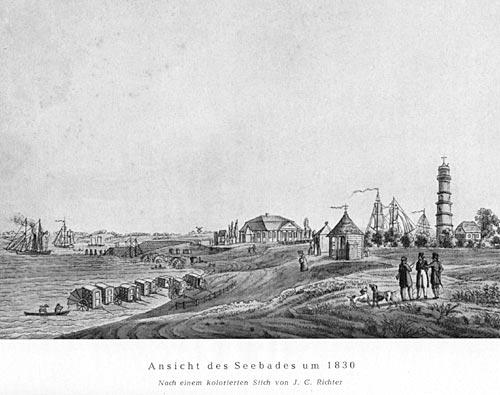 Ansicht des Seebades um 1830