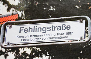 Straßenschild Fehlingstraße in Travemünde