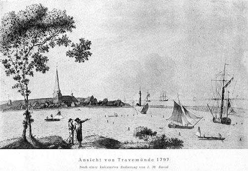 Ansicht von Travemünde 1797 nach einer kolorierten Radierungvon J. M. David