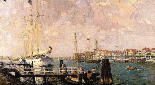 """Travemünder Woche 1909 –Seine Majestät Yacht """"Meteor"""" hat auf der Priwallseite festgemacht"""