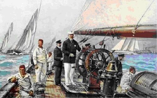 """Travemünder Woche 1909 – Der Kaiser auf seinem Lieblingsplatz an Bord der """"Meteor"""""""